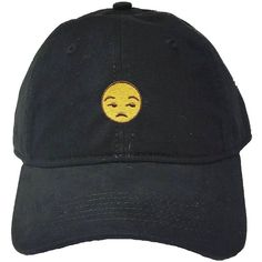 Adult Unamused Emoji Embroidered Deluxe Dad Hat ($12) ❤ liked on Polyvore featuring accessories, hats, ball cap hats, embroidered baseball caps, baseball hat, embroidery hats and adjustable hats