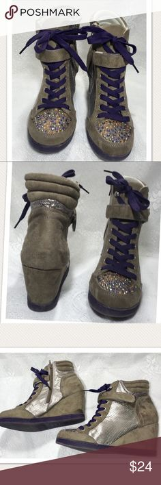 """Vera Wang Princess Tan Purple Rhinestone Wedge Excellent condition. Rhinestone detail. Lace up with side zipper. Wedge heel measure about 3"""". No flaws or imperfections. Vera Wang Shoes Wedges"""