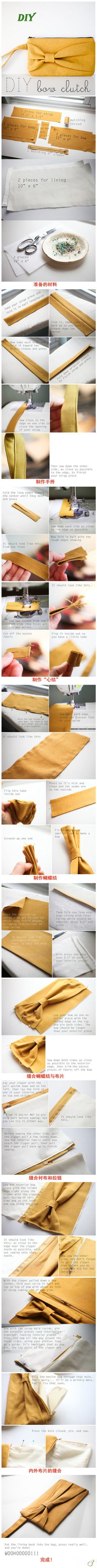 Handbags & Wallets - How to make a bow clutch - tutorial. I think im going for the matching set of yellow bow on my sewing board (check it out! Cute matching scarf and ear warmer tutorials!) - How should we combine handbags and wallets? Sewing Hacks, Sewing Tutorials, Sewing Crafts, Sewing Projects, Sewing Patterns, Tutorial Sewing, Purse Patterns, Sewing Ideas, Diy Projects