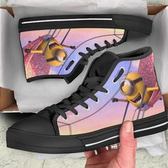 Minions Shoes High Top Limited Edition - MS05276 – iRockStores #disney #minion #shoes #fashion #fashiondesign Mens High Top Shoes, Mens High Tops, High Top Sneakers, Sneakers Nike, Minion Shoes, Church Suits And Hats, Funny Minion Memes, Product Photography, Snug Fit