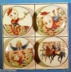 "SET 4 Nursery Rhymes Buttons ""Humpty Dumpty"" 1950'S Ceramic 1 "" DIA 