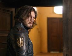 From drifty on tumblr Bbc Musketeers, Tom Burke, Prisoners Of War, Handsome Actors, Leather Jacket, Board, Studded Leather Jacket, Leather Jackets, Planks