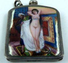 Miniature enamelled Silver match case / striker.