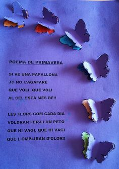 Tapes-album-Primavera-Educació-i-les-TIC-11 Tapas, Easy Crafts To Make, Projects To Try, Arts And Crafts, Spring, Butterflies, Log Projects, Children Poems, Short Stories