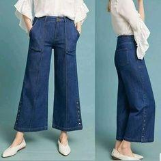 Pilcro and the Letterpress Jeans | Anthropologie Culotte Pilcro Size 3 | Poshmark Letterpress, Mom Jeans, Anthropologie, Polka Dots, Product Description, Legs, Pants, Blue, Outfits
