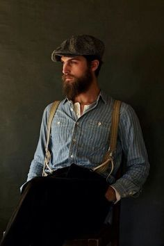 Not sure if I could get Joost to wear suspenders, but I'm liking the look. Just add Capt. Style Vintage Hommes, Looks Style, My Style, Country Style, Newsboy Cap, Flat Cap, Beard No Mustache, Baker Street, Gentleman Style