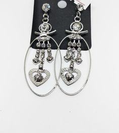 Πρωτότυπα γυναικεία κρεμαστά σκουλαρίκια με καρδιές, στρας και κρίκους Drop Earrings, Jewelry, Fashion, Moda, Jewlery, Jewerly, Fashion Styles, Schmuck, Drop Earring