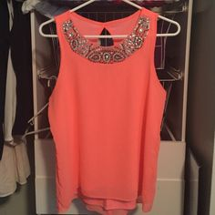 Charlotte Russe blouse Worn once, practically brand new! It doesn't fit me. All of the beads are still there and there are no picks in the fabric. In great condition! Size medium and a bright orange color Charlotte Russe Tops Blouses
