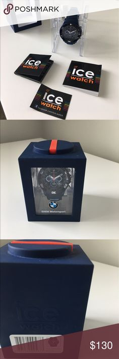 BMW men's watch Brand New BMW Motorsport ice chronograph with date display and motor racing design. White minute and hour hands, blue face and red second hand. Waterproof up to 100m BMW Accessories Watches