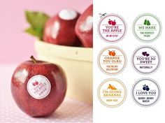 How cute are these fruit stickers for Valentine's Day?