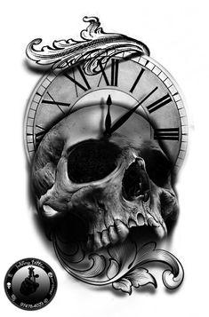 Skull Tattoo Designs - Skull Tattoo, Skull Tattoo Designs, Black and White, Skull - Skull Roses Tattoo, Skull Tattoos, Life Tattoos, Body Art Tattoos, Sleeve Tattoos, Key Tattoos, Foot Tattoos, Clock Tattoo Design, Sketch Tattoo Design