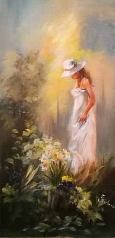 Szidónia festőművész Romantikus lány 1. 40x20 olajfestmény