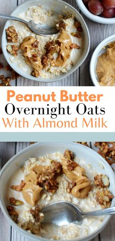 These peanut butter overnight oats are healthy, easy and delicious! They're also vegan and gluten free. Top with banana and more peanut butter for lots of protein. Healthy | Easy | Almond Milk | Vegan | overnight oats #overnightoats