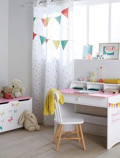 Spectacular Kinderzimmer Vorhang mit bunten Wimpeln WEI BEDRUCKT
