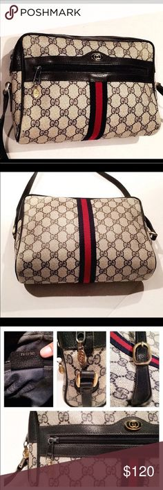 Authentic GUCCI monogram canvas shoulder bag! This beautiful authentic designer bag is a true 1980's Classic. The exterior is in EXCELLENT condition. The interior has minor scuffing to lining. The genuine leather is free of damage. The crossbows strap is loosing a few stitches in a 5inch portion next to the buckle. Easily repairable. The main zipper is a little stiff due to normal aging. I've applied a small drop of coconut oil in the past & had no problems! Must have trendy chic bag! Don't…