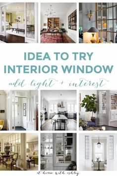idea to try- interior window. This architectural feature brings in light and style. Similar to how a transom window works over doors. It's a great way to incorporate vintage glass, leaded, or stained glass. It's a great alternative to an open concept floor plan while still having bright rooms and seperate spaces