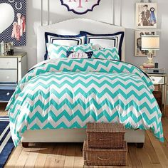 PB Teen Chevron Duvet Cover, Twin, Pool (96 CAD) ❤ liked on Polyvore featuring home, bed & bath, bedding, duvet covers, blue, chevron pillow shams, pbteen bedding, blue twin bedding, chevron bedding and chevron twin bedding