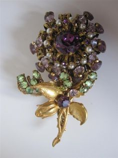 VINTAGE c.1950 SUFFRAGETTE COLOR FLOWER BROOCH by MIRIAM HASKELL