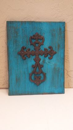 Distressed Barn Wood Cast Iron Cross Sign by ScrapSavvyDesigns