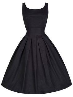 Vintage Scoop Collar Sleeveless Solid Color Women's Midi Dress