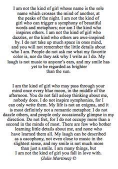 not your kind of girl; 12.22.13 [By: Julie Martinez] *follow my instagram @Julie Forrest Martinez for more poems*