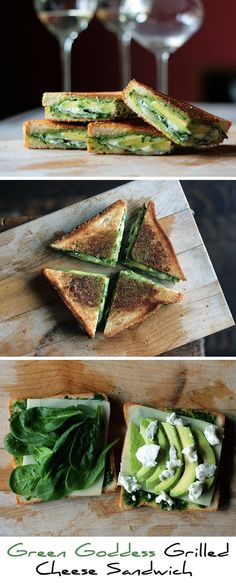 Green Goddess Grilled Cheese Sandwich- this yummy (and healthy) grilled cheese puts a tasty twist on those old grilled cheese sandwiches. I Love Food, Good Food, Yummy Food, Tasty, Vegetarian Recipes, Cooking Recipes, Healthy Recipes, Grill Cheese Sandwich Recipes, Healthy Snacks