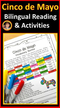 Celebrate the importance of Cinco de Mayo this year with your Spanish language class using these NO PREP printables! This unit includes a bilingual reading, comprehension questions, vocabulary worksheets and many fun engaging activities for your Spanish class.  Appropriate for both beginning and intermediate students.