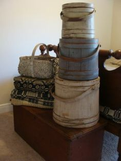 firkins, coverlets, basket...so many good things   ****   notice the blanket chest*