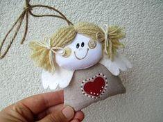 Fabric Christmas Ornaments, Christmas Toys, Christmas Angels, Christmas Decorations, Handmade Angels, Handmade Toys, Felt Crafts, Diy And Crafts, Alternative Christmas Tree