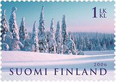 Postage Stamp Art, Finland, Mountains, Winter, Nature, Travel, Outdoor, Beautiful, Banknote
