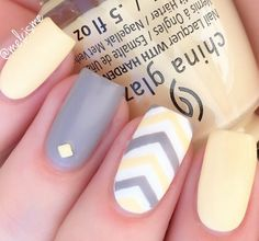 We have chosen the most beautiful yellow nail art designs for summer 2019 between yellow and grey nails, yellow and black nails, and yellow and silver nails. Yellow Nails Design, Yellow Nail Art, Grey Nail Designs, Best Nail Art Designs, Nail Designs Spring, Pastel Yellow, Pastel Colors, Yellow Chevron, Purple Nail