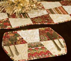"""Placemats and Tablerunner were being sold on Ebay. You can make them EASY using our  GO! Tumbler 4"""" or 6"""" finished dies!  #accuquilt #quilting"""
