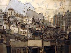 So Young Choi: Landscape of Gaya - Madrid) - fabric technics - Arte Contemporânea Textile Fiber Art, Textile Artists, Fabric Painting, Fabric Art, Madrid, Denim Art, Landscape Quilts, Collages, Urban Landscape