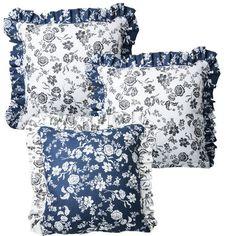 Bavlněné povlaky na polštářky Indigo 3 ks