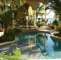 Having a pool sounds awesome especially if you are working with the best backyard pool landscaping ideas there is. How you design a proper backyard with a pool matters. Pool Spa, Oasis Pool, Moderne Pools, Mini Pool, Luxury Pools, Beautiful Pools, Beautiful Landscapes, Dream Pools, Swimming Pool Designs