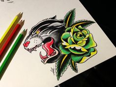 Panther with rose old school sketch tattoo