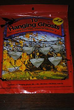 10 HANGING GHOSTS TREE PORCH BALCONY SCARY HALLOWEEN PARTY YARD DECORATION