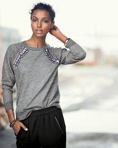 J.Crew women's jeweled raglan sweatshirt with slouchy pants