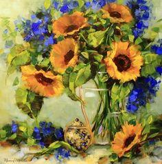 Sunkissed Sunflowers by Texas Flower Artist Nancy Medina, painting by artist Nancy Medina