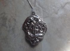 Sterling silver art nouveau cameo lady in stars large pendant
