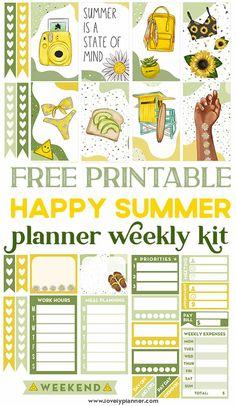 Free Planner, Happy Planner, Planner Ideas, Printable Planner Stickers, Free Printables, Summer Planner, Scrapbooking, Happy Summer, Sticker Ideas