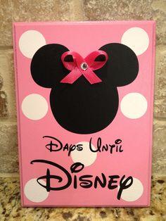 PINK Minnie, with Bow, Disney World Vacation Chalkboard Countdown Calendar. $16.00, via Etsy.