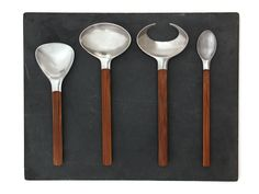 "'Toke' Flatware By Quistgaard  Denmark  1960's  A very rare set of ""TOKE"" (toké-ah) tableware. Hand forged Danish stainless steel flatware with handles of thick bamboo. Designed by Jens Quistgaard, Made in Denmark by DANSK. Priced per set of 6 pcs."