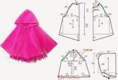 Free Pattern Layout - Cape with Hood Doll Clothes Patterns, Sewing Clothes, Clothing Patterns, Diy Clothes, Sewing For Kids, Baby Sewing, Kids Patterns, Sewing Patterns, Simple Girl
