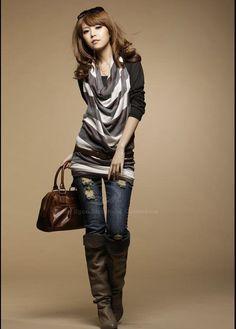 b130e42cc8b89 Stylish Scoop Neck Long Sleeves With Halter Stripes Waistcoat Twinset  Cotton Blend Women's T-Shirt