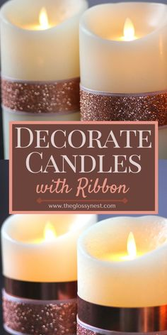 I thought it might be hard to decorate a candle with ribbon, but it turned out to be very easy. And you don't need to be good at crafts to do this. You can decorate candles with all kinds of things including dried flowers, tissue paper, fabric, beads, paper napkins, cinnamon sticks, sharpies, wax paper, henna, etc. Perfect for Christmas, Diwali, baptisms, weddings and other holidays or special events. See how to decorate a candle with ribbon for real wax candles and flameless candles. Flameless Candles, Candle Wax, Pillar Candles, Crafts For Teens, Crafts To Do, Printable Heart Template, Homemade Valentines, Homemade Candles, Black Candles