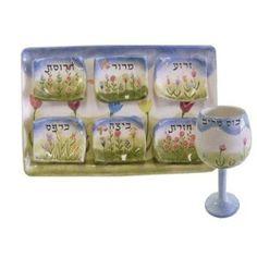 Passover Seder Plates & Goblet Hand Painted Floral Design Hebrew Lettering
