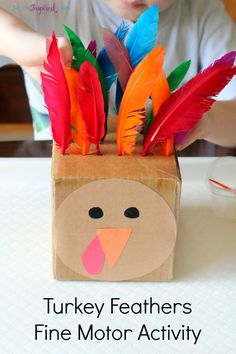Turkey fine motor activity for toddlers and preschoolers that teaches color recognition, counting and patterning! Thanksgiving kids arts and crafts - kids activities Thanksgiving Activities For Kids, Autumn Activities, Craft Activities, Toddler Activities, Thanksgiving Turkey, Therapy Activities, Thanksgiving Desserts, Holiday Fine Motor Activities, Fall Activities For Preschoolers