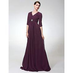 Chiffon Elastic Woven Satin Sheath/Column V-neck Sweep/Brush Train Evening Dress inspired by Elizabeth Perkins  – USD $ 179.99