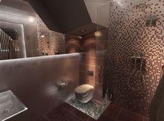 Trudna łazienka pod schodami. Projekt New Concept Design. ww.n-c-d.com.pl